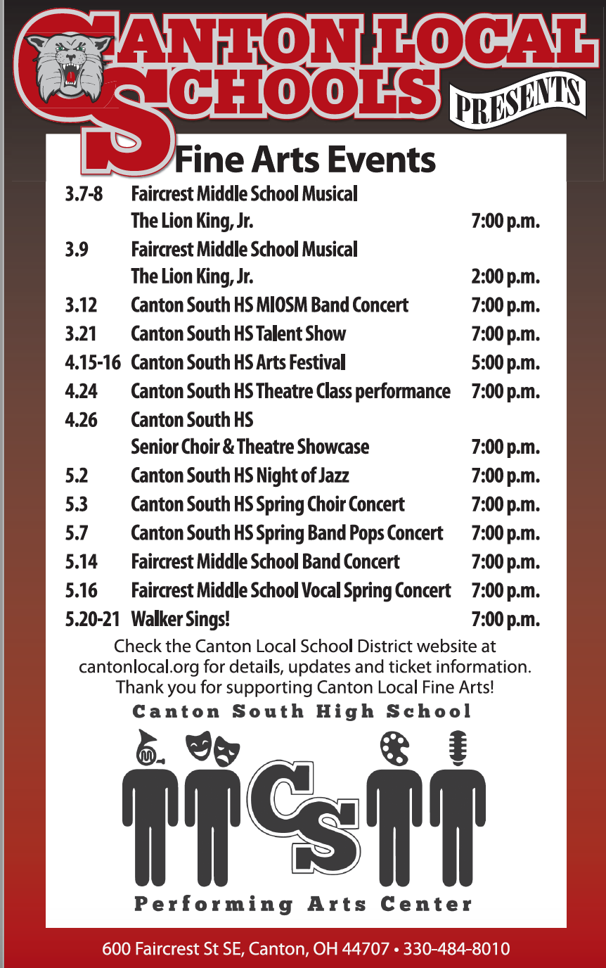 Fine Arts Event Calendar updated